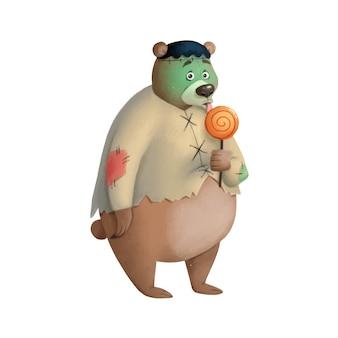 Illustration eines niedlichen cartoon-halloween-bären, der ein frankenstein-kostüm halloween-tiere trägt