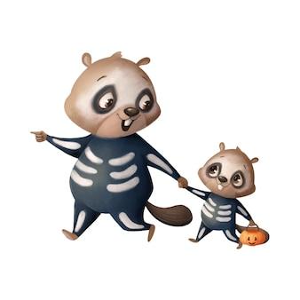 Illustration eines niedlichen cartoon-halloween-bibers, der ein skelettkostüm halloween-tiere trägt