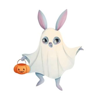 Illustration eines niedlichen cartoon-halloween-häschens, das ein geisterkostüm halloween-tiere trägt
