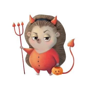 Illustration eines niedlichen cartoon-halloween-igels, der ein teufelskostüm halloween-tiere trägt