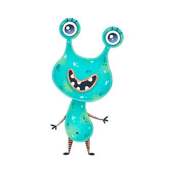Illustration eines niedlichen grünen karikaturfremden. nettes monster lokalisiert auf weiß.