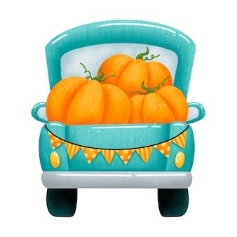 Illustration eines niedlichen karikatur-grünen pickups mit orangefarbenen kürbissen. rückansicht des landwirtschaftlichen ernte-bauernhof-lkw