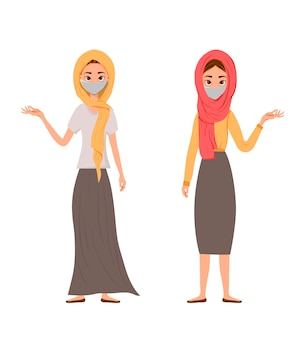 Illustration eines niedlichen, muslimischen familiencharakters, der maske auf weißem hintergrund trägt.