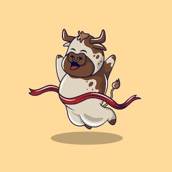 Illustration eines niedlichen stiers, der den sieg über das brechen der ziellinie feiert