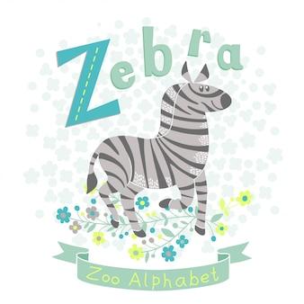 Illustration eines niedlichen zebras im karikaturstil. buchstabe z.