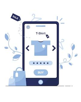 Illustration eines online-shops. per telefon kaufen. shop-vorlage. t-shirt mit rabatt. ausverkaufen. kaufe es jetzt. produktbewertung. fünf sterne. blau. weißer hintergrund. bestellung von zu hause aus.