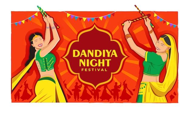 Illustration eines paares, das dandiya in der disco garba night banner poster spielt