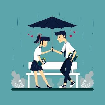 Illustration eines paares unter einem regenschirm