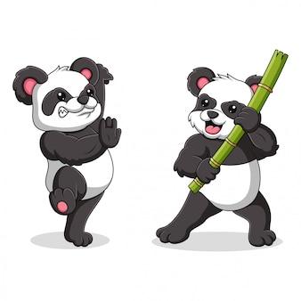 Illustration eines pandas mit kung fu bewegungen