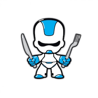 Illustration eines roboters. robotercharakter der zukunft mit messer und gabel.