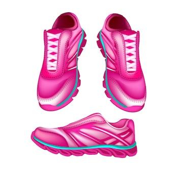 Illustration eines Rosas trägt Schuhe und Schuhe zur Schau