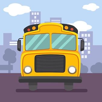 Illustration eines roten doppeldeckerbusses mit symbolform einer stadt. ich kann es kaum erwarten, in den doppeldeckerbus nach london zu steigen