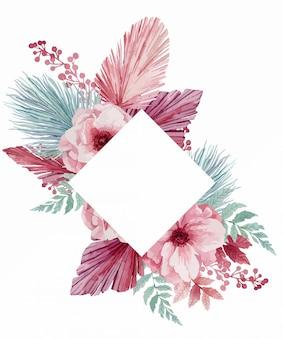 Illustration eines sanften kranzes für eine hochzeitseinladung von eukalyptus, rosa anemonen, palmblättern und mohnblumen.