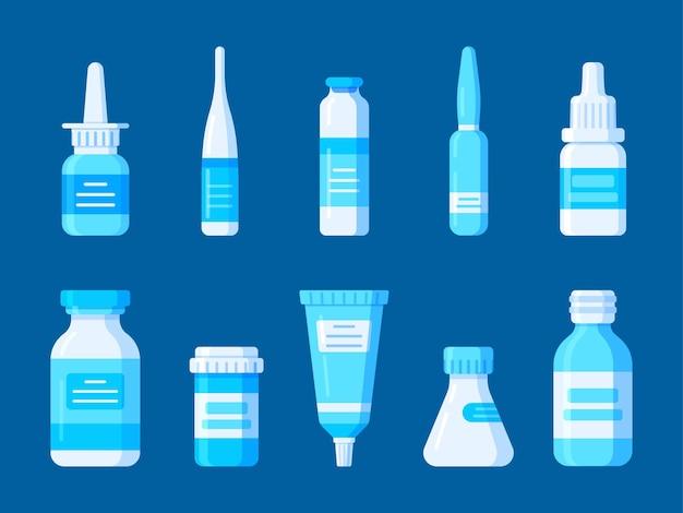 Illustration eines satzes von erste-hilfe-sets für medikamente für ein patienten-standard-chirurgieset-design verschiedener ampullenflaschengläser