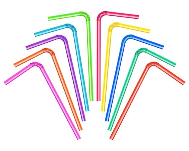 Illustration eines satzes von farbigen trinkhalmen