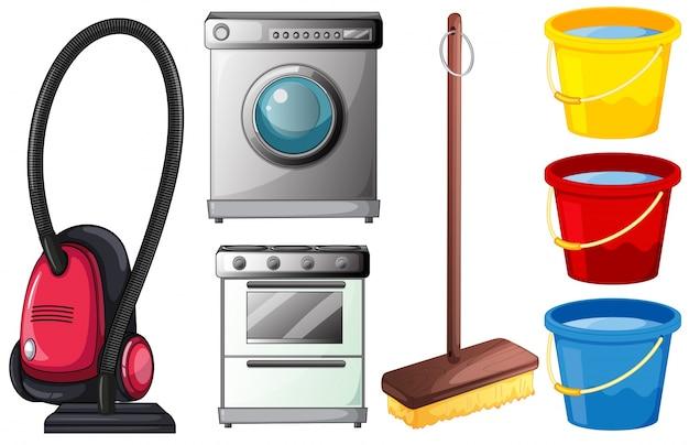 Illustration eines satzes von reinigungsgeräten