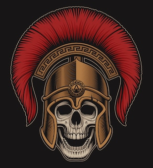 Illustration eines schädels in einem spartanischen helm auf einem dunklen hintergrund. alle zusätzlichen farben in einer separaten gruppe.