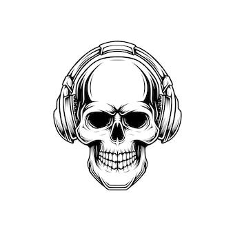 Illustration eines schädels mit einem headset