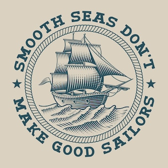 Illustration eines schiffes im gravurstil. perfekt für logos, shirt-design und viele andere zwecke
