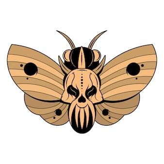 Illustration eines schmetterlings toter kopf mit einem schädelförmigen muster auf dem brustkorb. vektorbanner mit realistischer motte nahaufnahme draufsicht, schwarz und weiß und farbig