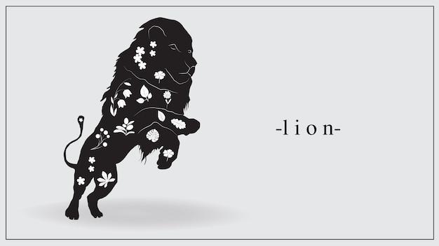Illustration eines schwarzen löwen mit weißen pflanzen und blumen auf dem körper