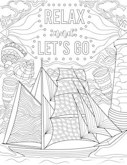 Illustration eines segelboots, das auf dem ozean schwimmt, umgeben von muscheln unter inspirierender note
