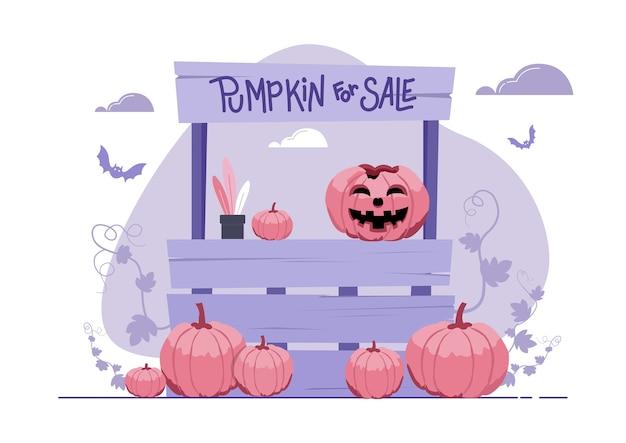 Illustration eines standes, der kürbis am halloween-tag verkauft