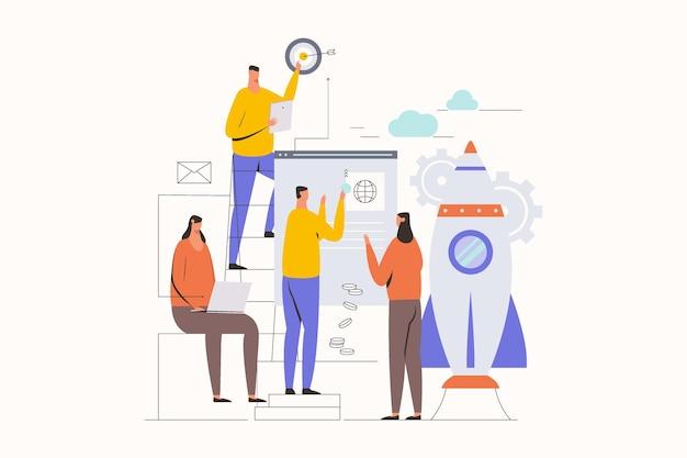 Illustration eines startup-teams, das flache vektorillustration arbeitet