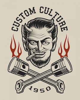 Illustration eines teufels mit gekreuzten kolben im vintage-stil. perfekt für t-shirt design