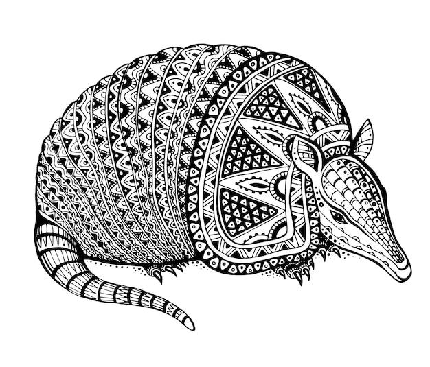 Illustration eines totemtieres - gürteltier - im grafischen schwarzweiss-stil