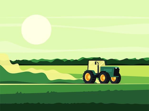 Illustration eines traktors, der über das feld fährt.