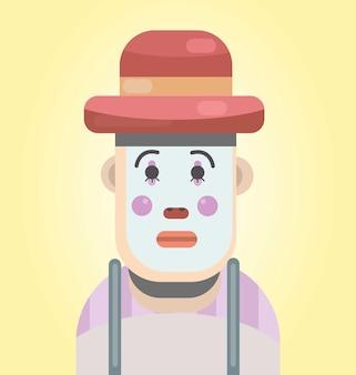 Illustration eines traurigen pantomimen-flaches design