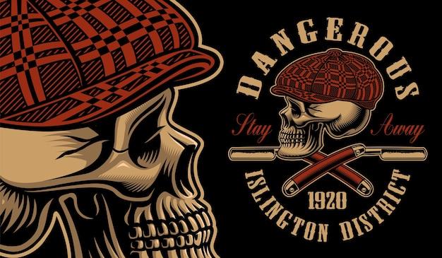 Illustration eines tyrannschädels mit den rasiermessern. für t-shirts. alle elemente, farben und texte befinden sich in separaten gruppen.