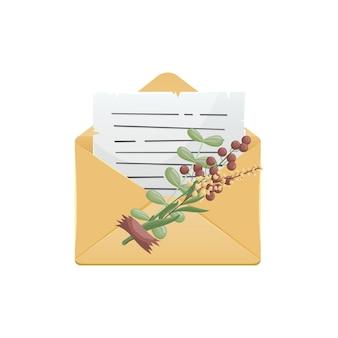 Illustration eines umschlags mit einem brief, der mit einem strauß getrockneter blumen verziert ist.