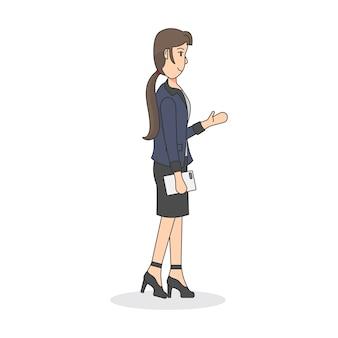 Illustration eines weiblichen büroangestellten