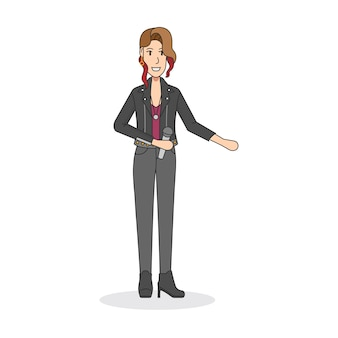 Illustration eines weiblichen rockkünstlers