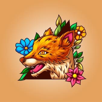 Illustration eines wolfes mit einem blattrahmen