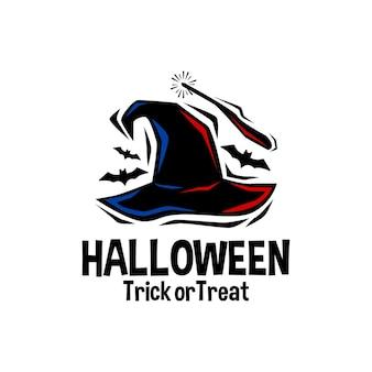 Illustration eines zauberstabs mit hexenhut und fledermäusen halloween-vektorlogo-horror-vektorgrafiken