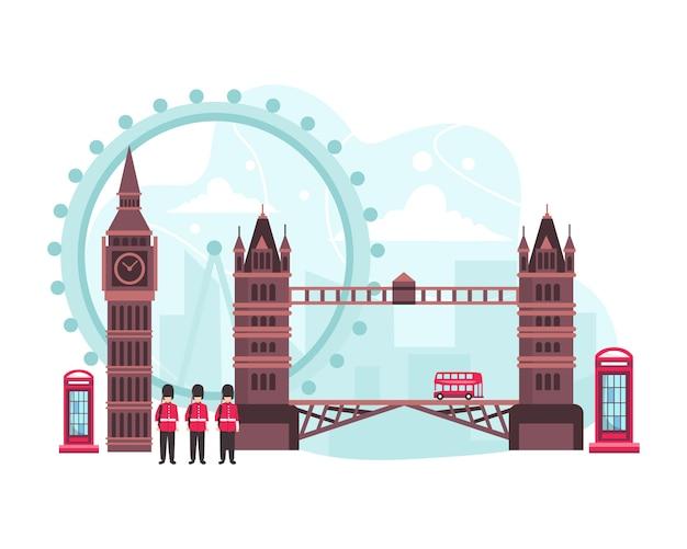 Illustration england reise-wahrzeichen