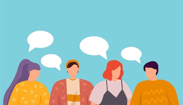 Illustration, flacher stil, gruppe von menschen diskutieren social-media-nachrichten, soziale netzwerke, chat, dialog sprechblasen