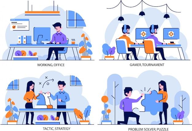 Illustration flacher und umrissentwurfsstil, arbeiten im büro, spielerturnier, taktik, strategie, problemlöser, puzzle