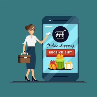 Illustration frau, die online mit telefonkreditkarte einkauft.