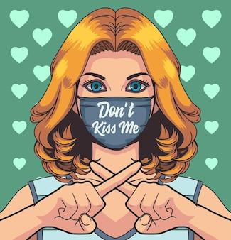 Illustration frau verwenden schutzmaske, nicht küssen