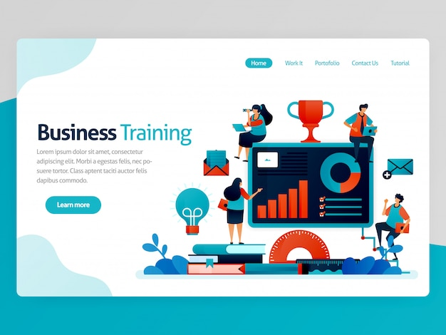 Illustration für business training landing page. business- und entrepreneurship-seminar. statistik zur strategieanalyse lesen. grafik und kontenplan