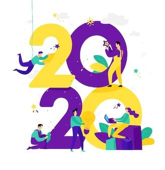 Illustration für das neue jahr 2020. die menschen arbeiten mit zahlen.