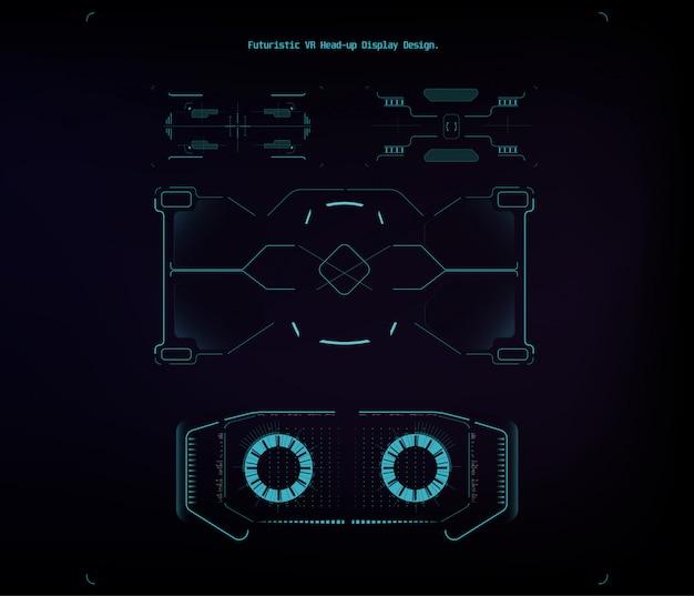 Illustration für design. getrenntes set. futuristisches hud-interface-screen-design. geschäftsillustration. abbildung isoliert.