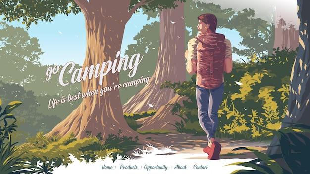 Illustration für eine landingpage des backpackers im nationalpark