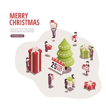Illustration für frohe weihnachten und neues jahr.