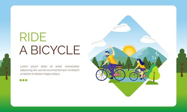 Illustration für landingpage, lass uns fahrrad fahren