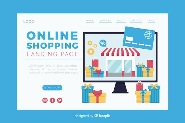 Illustration für landingpage mit online-shopping-konzept